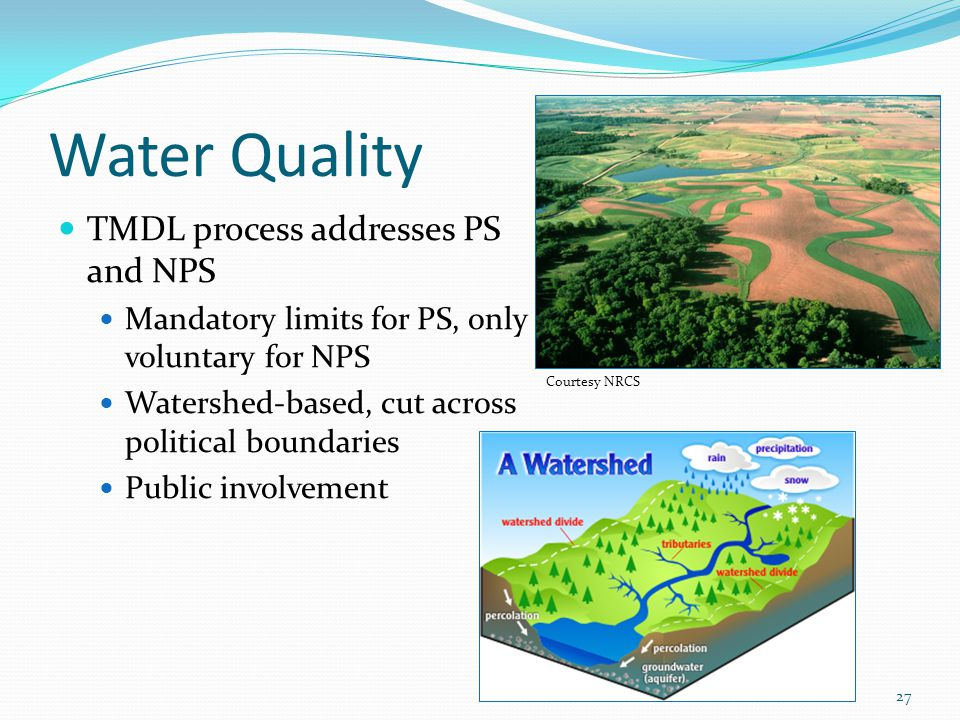 Water Quality TMDL process addresses PS and NPS Mandatory limits for PS, only voluntary for NPS Watershed-based, cut across political boundaries Publi