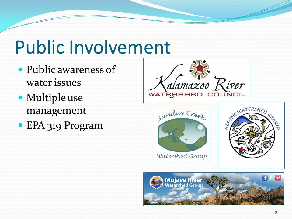 Public Involvement 31 Public awareness of water issues Multiple use management EPA 319 Program
