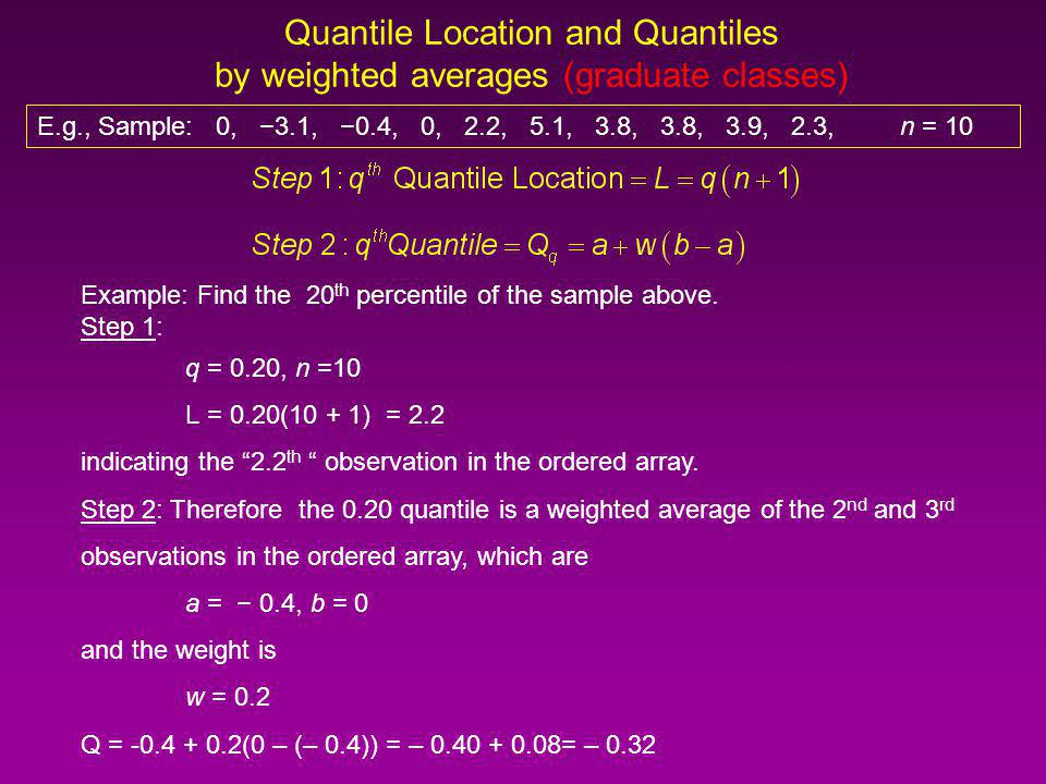 Quantile Location and Quantiles Quantile RankQuantile LocationQuartile 0.75 = 3/4 0.50 = 2/4 0.25 = 1/4 ValueRank 5.110 3.99 3.88 7 2.36 2.25 04 03 0.42 3.11 Minimum = 3.1 Maximum = 5.1 E.g., Sample: 0, 3.1, 0.4, 0, 2.2, 5.1, 3.8, 3.8, 3.9, 2.3, n = 10