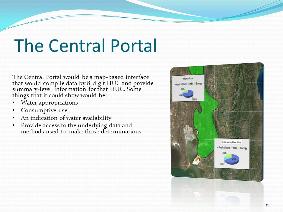 The Central Portal 11 The Central Portal would be a map-based interface that would compile data by 8-digit HUC and provide summary-level information for that HUC.