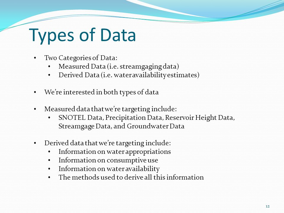 Two Categories of Data: Measured Data (i.e. streamgaging data) Derived Data (i.e.