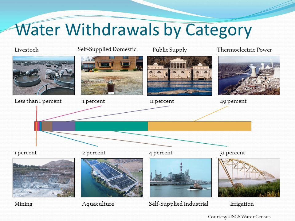 Irrigation Mining Self-Supplied Industrial Aquaculture 31 percent1 percent Less than 1 percent Livestock 11 percent Public Supply 49 percent Thermoelectric Power 4 percent2 percent 1 percent Self-Supplied Domestic Water Withdrawals by Category Courtesy USGS Water Census