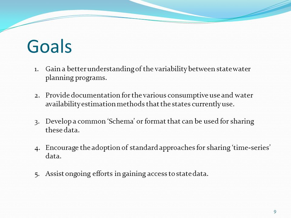 Goals 9 1.Gain a better understanding of the variability between state water planning programs.