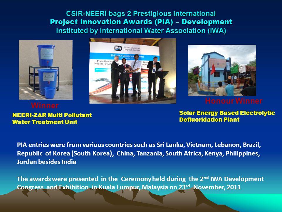CSIR-NEERI bags 2 Prestigious International Project Innovation Awards (PIA) – Development instituted by International Water Association (IWA) Winner H