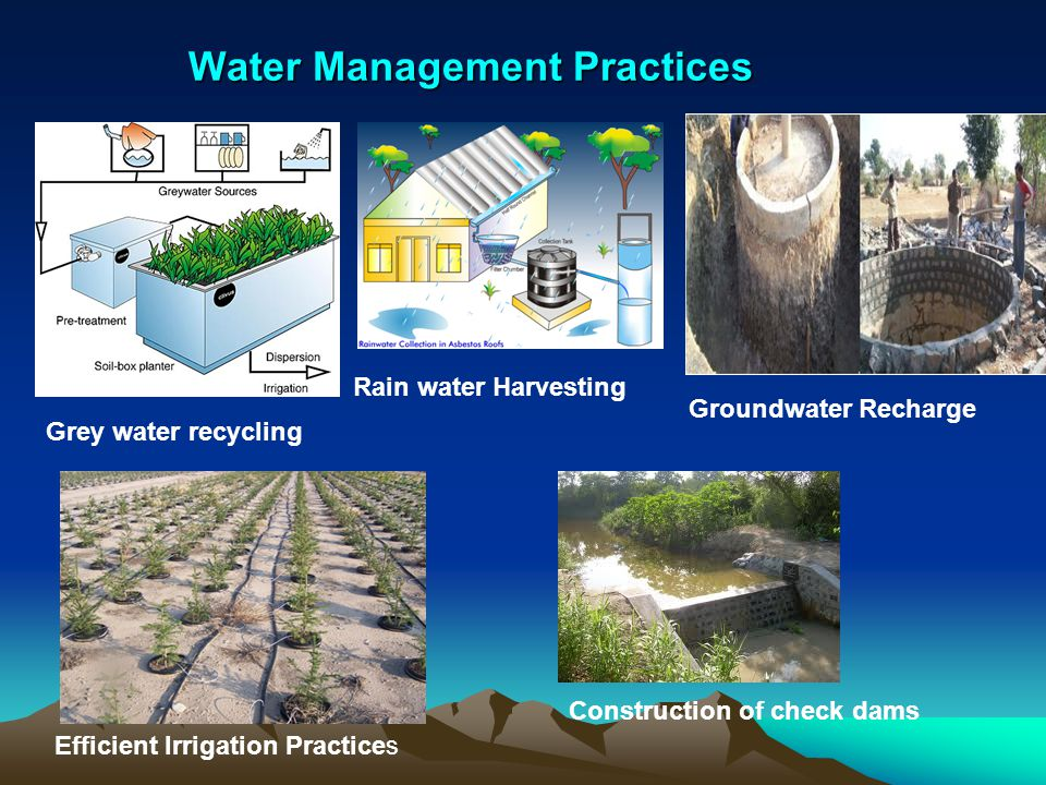 Water Management Practices Grey water recycling Rain water Harvesting Groundwater Recharge Efficient Irrigation Practices Construction of check dams