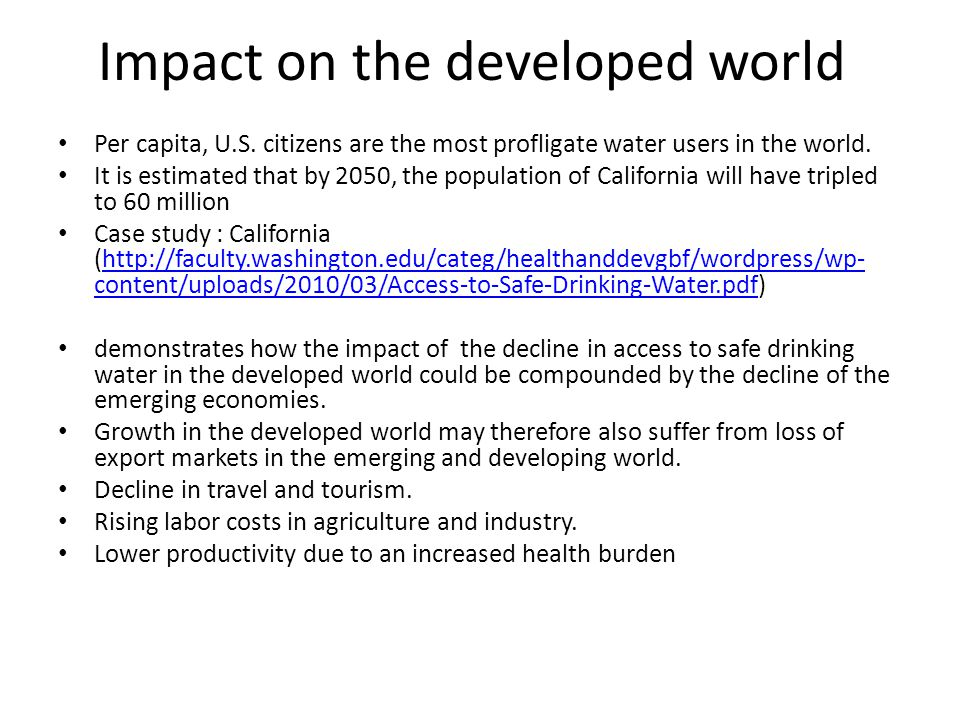 Impact on the developed world Per capita, U.S.