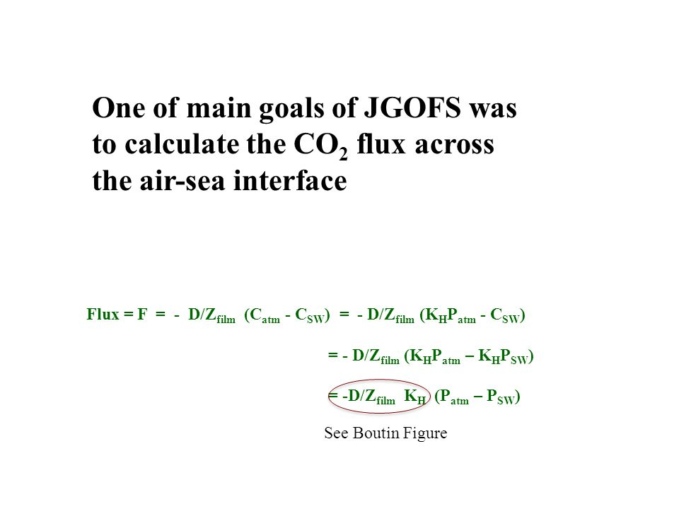 One of main goals of JGOFS was to calculate the CO 2 flux across the air-sea interface Flux = F = - D/Z film (C atm - C SW ) = - D/Z film (K H P atm - C SW ) = - D/Z film (K H P atm – K H P SW ) = -D/Z film K H (P atm – P SW ) See Boutin Figure
