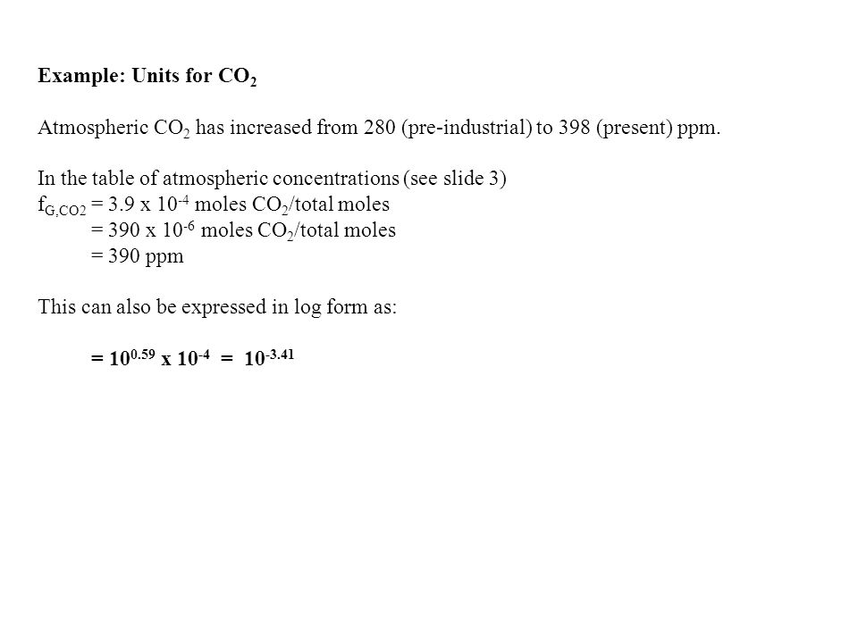 Example: Units for CO 2 Atmospheric CO 2 has increased from 280 (pre-industrial) to 398 (present) ppm.