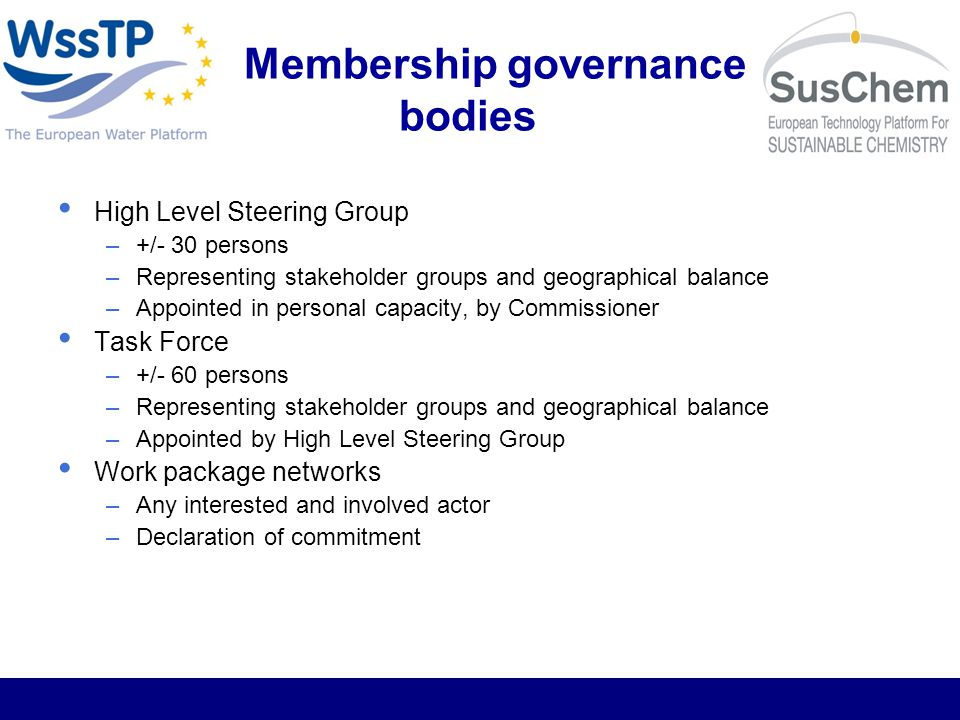Membership governance bodies High Level Steering Group –+/- 30 persons –Representing stakeholder groups and geographical balance –Appointed in personal capacity, by Commissioner Task Force –+/- 60 persons –Representing stakeholder groups and geographical balance –Appointed by High Level Steering Group Work package networks –Any interested and involved actor –Declaration of commitment