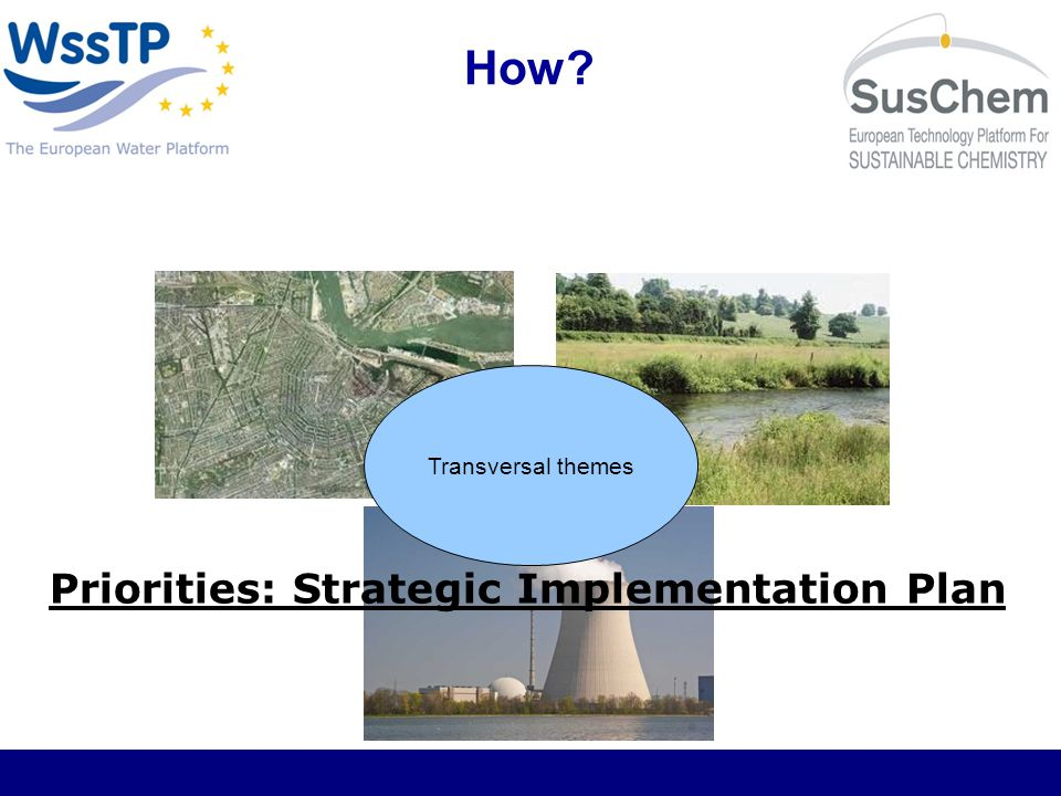 Output of the EIP 2013 - Web-based Market Place 2015 - Identifying and breaking down barriers to innovation 2020 – Solutions to 10 major water challenges Innovation Sites – demonstration projects Dissemination strategies