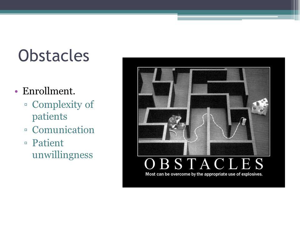 Obstacles Enrollment. Complexity of patients Comunication Patient unwillingness
