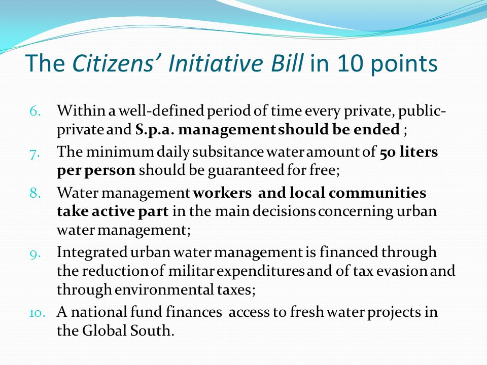 The Citizens Initiative Bill in 10 points 6.