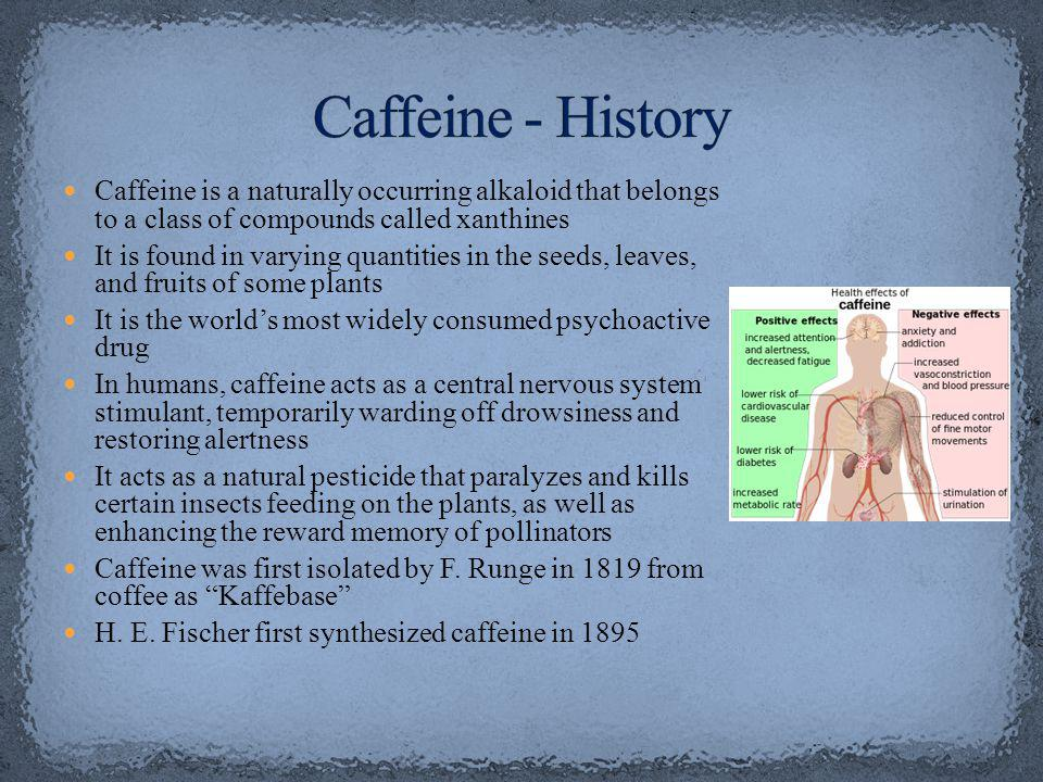 Caffeine is a naturally occurring alkaloid that belongs to a class of compounds called xanthines It is found in varying quantities in the seeds, leaves, and fruits of some plants It is the worlds most widely consumed psychoactive drug In humans, caffeine acts as a central nervous system stimulant, temporarily warding off drowsiness and restoring alertness It acts as a natural pesticide that paralyzes and kills certain insects feeding on the plants, as well as enhancing the reward memory of pollinators Caffeine was first isolated by F.