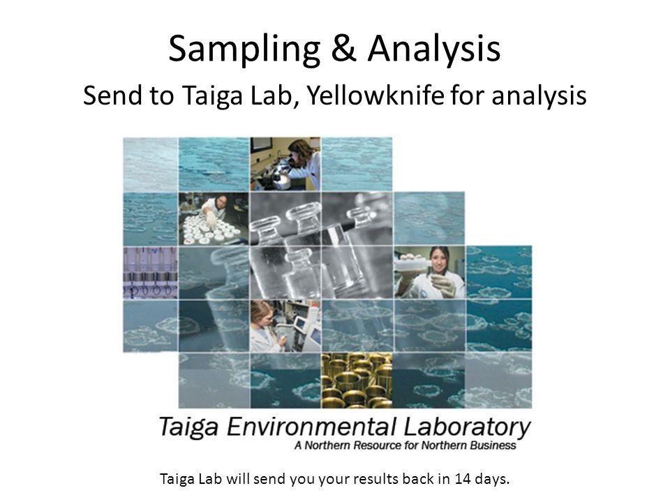 Sampling & Analysis Send to Taiga Lab, Yellowknife for analysis Taiga Lab will send you your results back in 14 days.