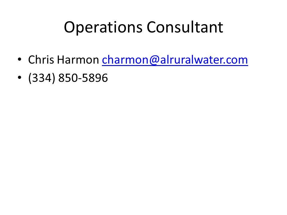 Operations Consultant Chris Harmon charmon@alruralwater.comcharmon@alruralwater.com (334) 850-5896