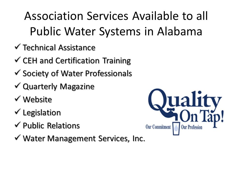 Association Services Available to all Public Water Systems in Alabama Technical Assistance Technical Assistance CEH and Certification Training CEH and