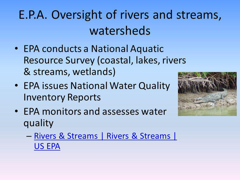E.P.A. Oversight of rivers and streams, watersheds EPA conducts a National Aquatic Resource Survey (coastal, lakes, rivers & streams, wetlands) EPA is