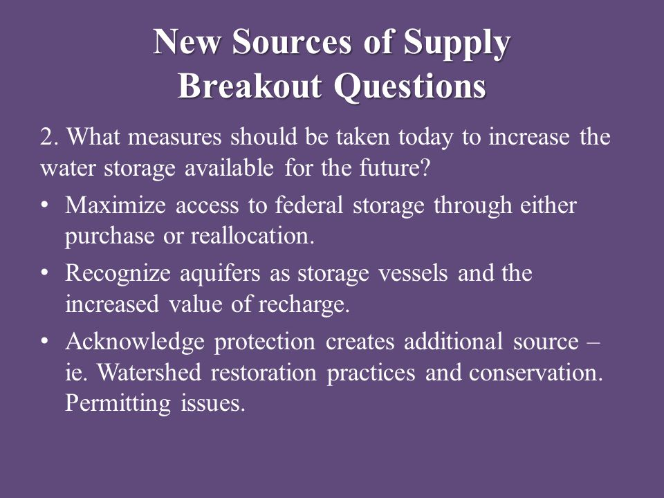 New Sources of Supply Breakout Questions 2.