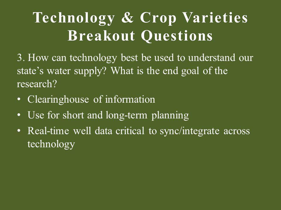Technology & Crop Varieties Breakout Questions 3.