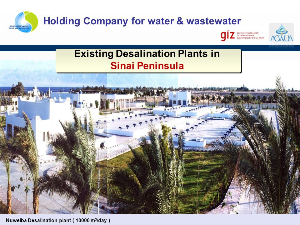 Holding Company for water & wastewater Nuweiba Desalination plant ( 10000 m 3 /day ) Existing Desalination Plants in Sinai Peninsula Existing Desalina