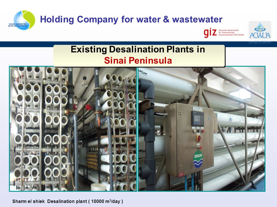 Holding Company for water & wastewater Existing Desalination Plants in Sinai Peninsula Existing Desalination Plants in Sinai Peninsula Sharm el shiek