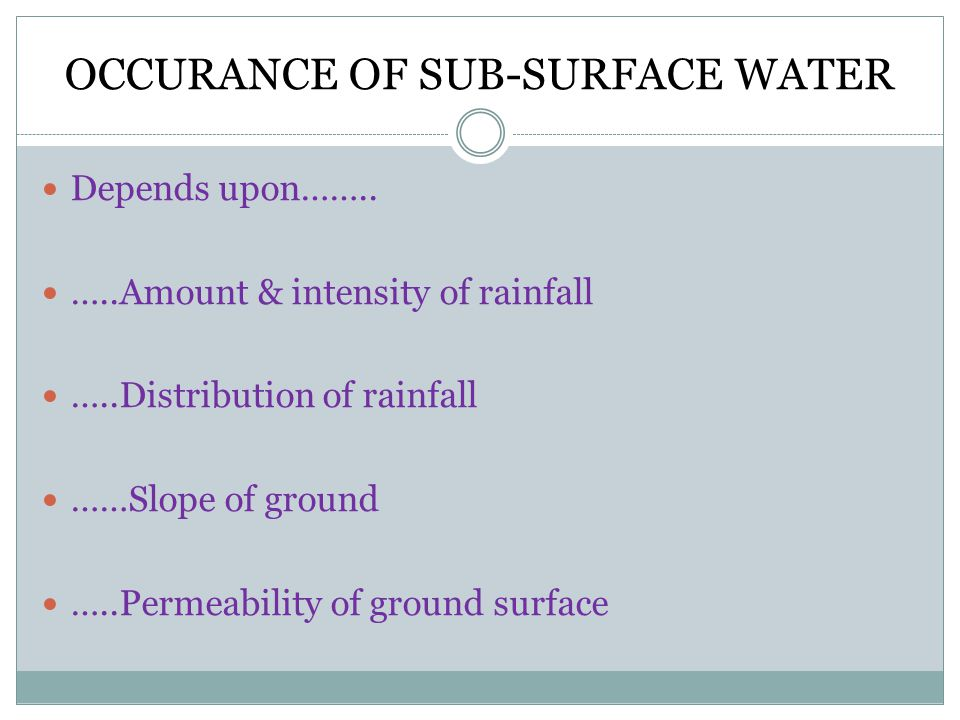 OCCURANCE OF SUB-SURFACE WATER Depends upon……..
