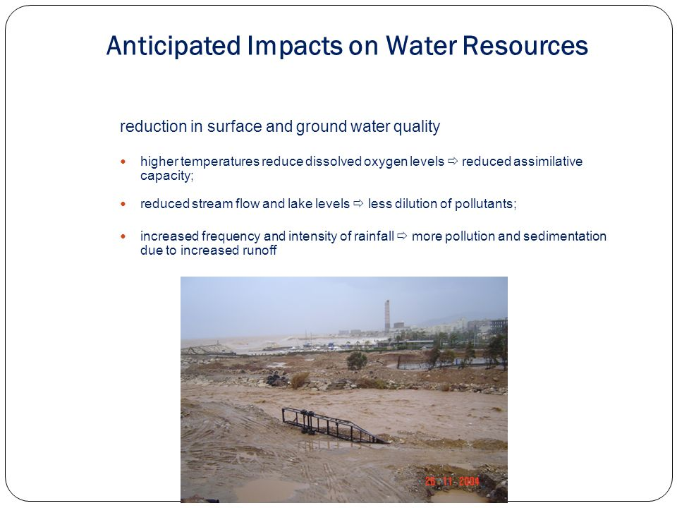 sea water rise intrusion into coastal aquifers sewage and stormwater sea outfalls/networks in coastal areas.