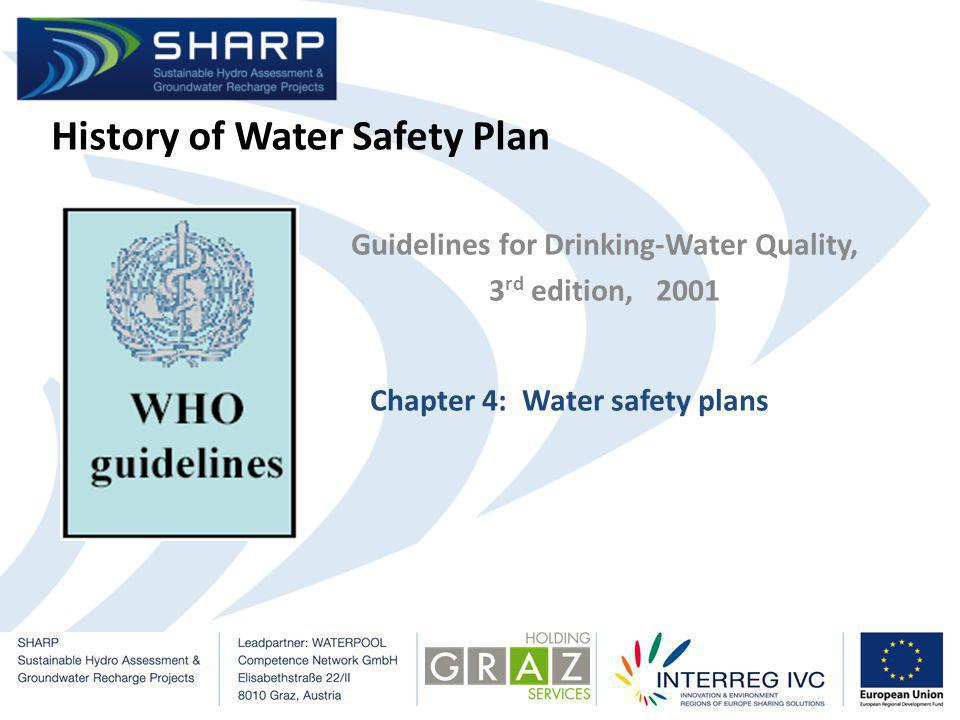 History of Water Safety Plan Guidelines for Drinking-Water Quality, 3 rd edition, 2001 Chapter 4: Water safety plans