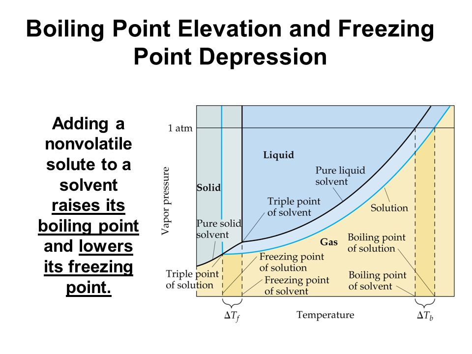 Boiling Point Elevation and Freezing Point Depression Adding a nonvolatile solute to a solvent raises its boiling point and lowers its freezing point.