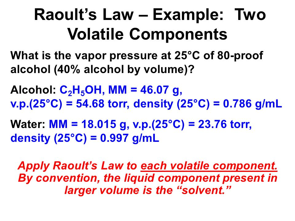 What is the vapor pressure at 25°C of 80-proof alcohol (40% alcohol by volume)? Alcohol: C 2 H 5 OH, MM = 46.07 g, v.p.(25°C) = 54.68 torr, density (2