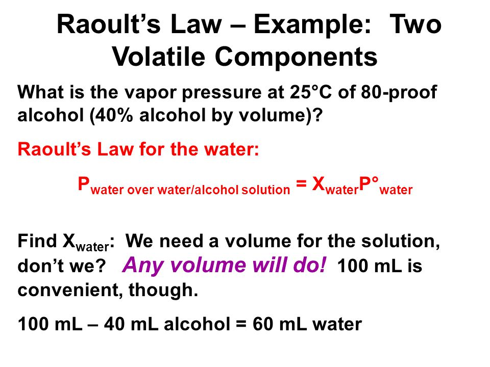 What is the vapor pressure at 25°C of 80-proof alcohol (40% alcohol by volume)? Raoults Law for the water: P water over water/alcohol solution = X wat