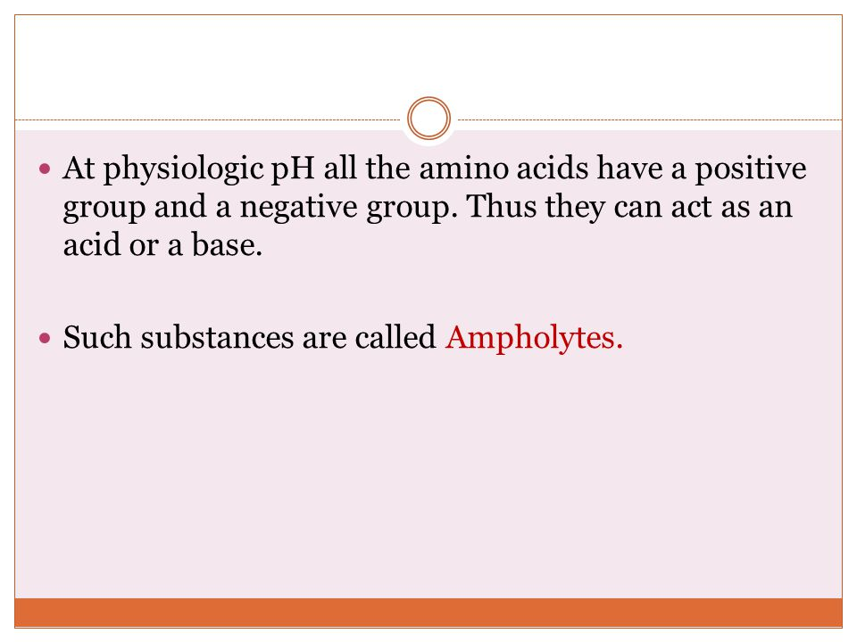 At physiologic pH all the amino acids have a positive group and a negative group.