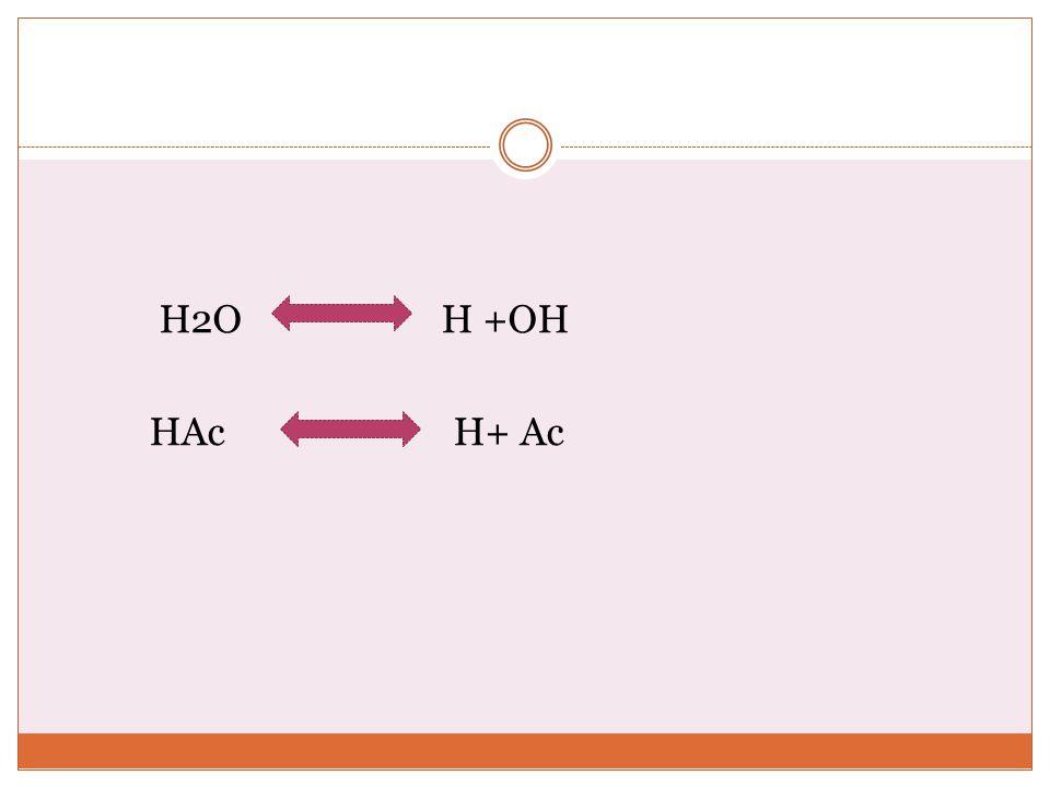 H2O H +OH HAc H+ Ac