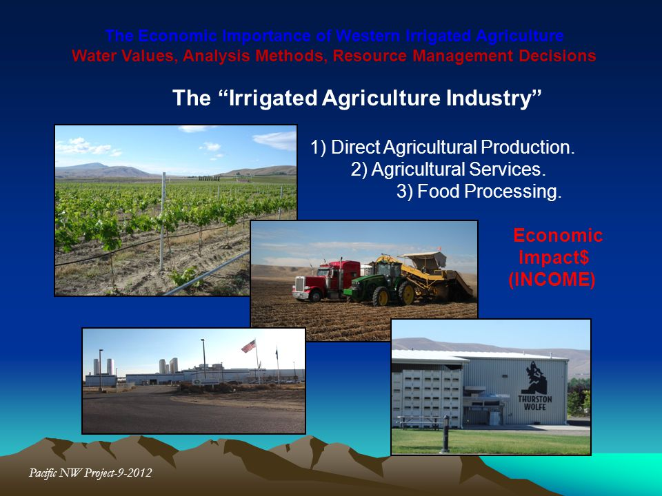 The Economic Importance of Western Irrigated Agriculture Water Values, Analysis Methods, Resource Management Decisions Pacific NW Project-9-2012 The I
