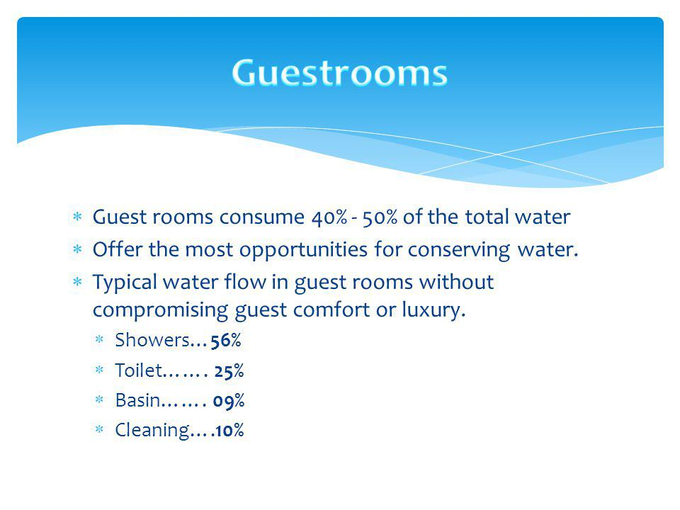 Guest rooms consume 40% - 50% of the total water Offer the most opportunities for conserving water. Typical water flow in guest rooms without compromi