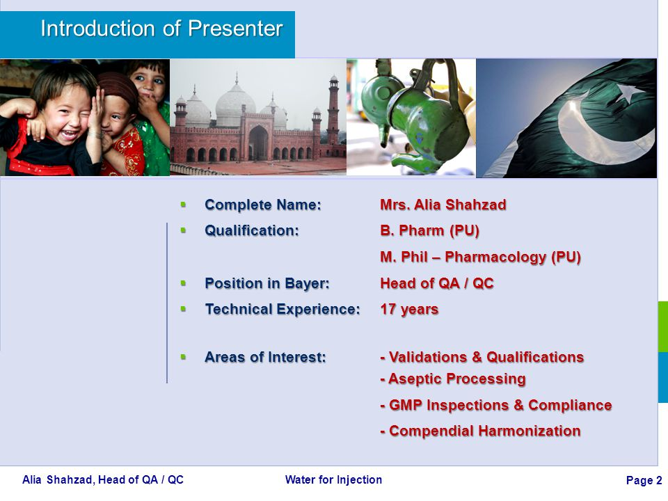Alia Shahzad, Head of QA / QC Water for Injection Page 23 Contents of the Presentation PART 1 Water Systems PART 2 Monitoring - Sampling and Testing Frequencies PART 3 Physical, Chemical and Microbiological Testing Parameters PART 4 Testing Methods and Requirements Alert and Action Levels Documentation and Trending of Data Monitored PART 5 Qualification and Requalification of Process Systems PART 6 Particular Considerations for Water Systems