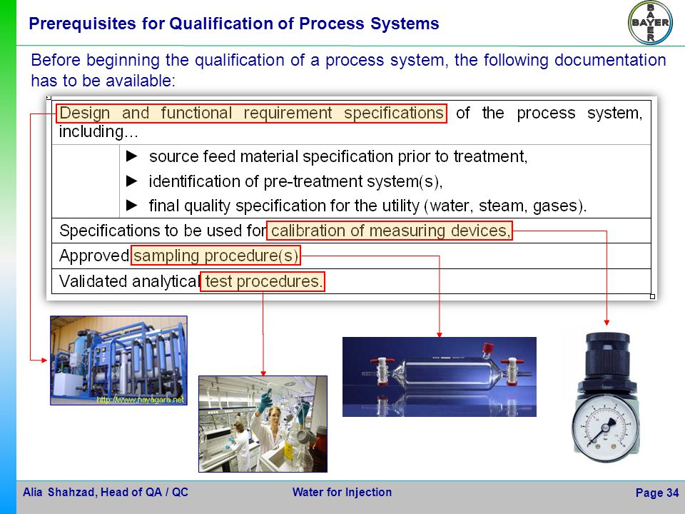 Alia Shahzad, Head of QA / QC Water for Injection Page 34 Prerequisites for Qualification of Process Systems Before beginning the qualification of a p
