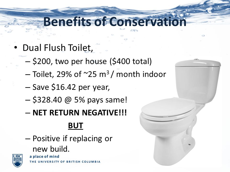 Benefits of Conservation Dual Flush Toilet, – $200, two per house ($400 total) – Toilet, 29% of ~25 m 3 / month indoor – Save $16.42 per year, – $328.40 @ 5% pays same.