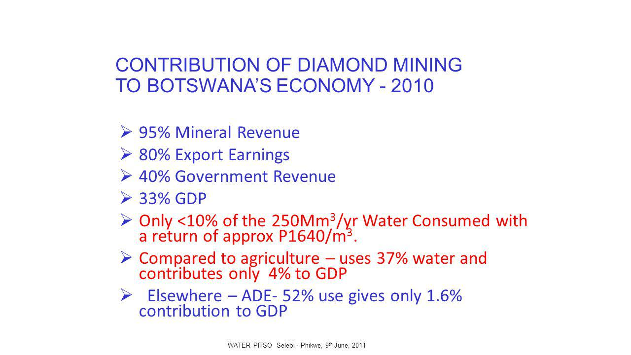 CONTRIBUTION OF DIAMOND MINING TO BOTSWANAS ECONOMY - 2010 95% Mineral Revenue 80% Export Earnings 40% Government Revenue 33% GDP Only <10% of the 250Mm 3 /yr Water Consumed with a return of approx P1640/m 3.