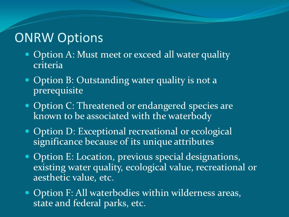 ONRW Options Option A: Must meet or exceed all water quality criteria Option B: Outstanding water quality is not a prerequisite Option C: Threatened or endangered species are known to be associated with the waterbody Option D: Exceptional recreational or ecological significance because of its unique attributes Option E: Location, previous special designations, existing water quality, ecological value, recreational or aesthetic value, etc.