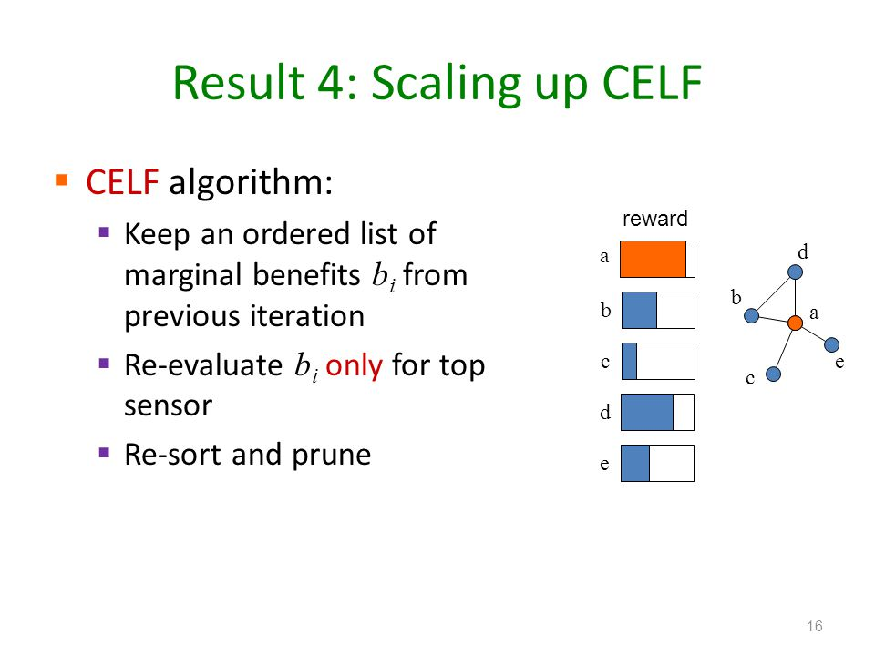 Result 4: Scaling up CELF CELF algorithm: Keep an ordered list of marginal benefits b i from previous iteration Re-evaluate b i only for top sensor Re