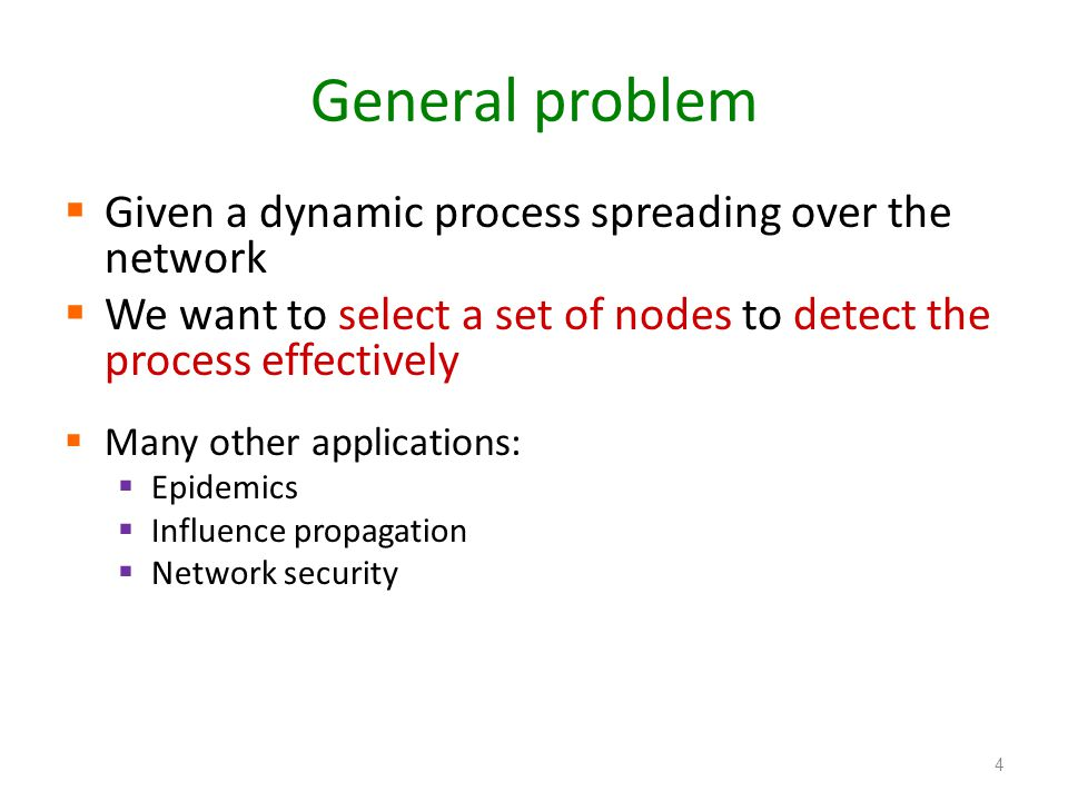 General problem Given a dynamic process spreading over the network We want to select a set of nodes to detect the process effectively Many other appli