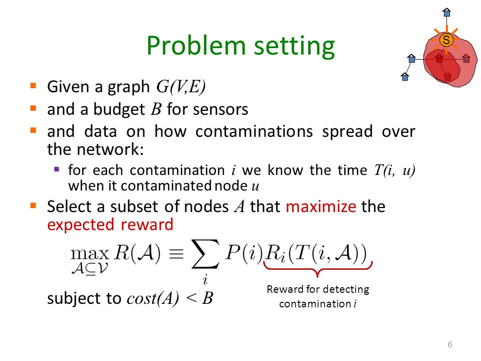 Problem setting Given a graph G(V,E) and a budget B for sensors and data on how contaminations spread over the network: for each contamination i we kn