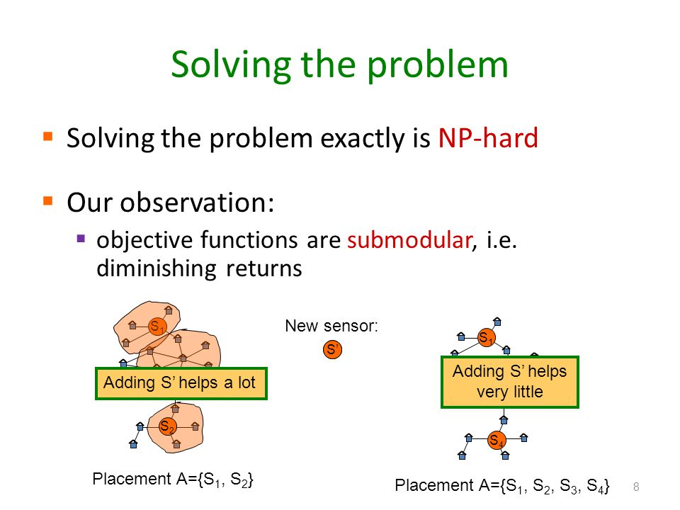 Solving the problem Solving the problem exactly is NP-hard Our observation: objective functions are submodular, i.e. diminishing returns 8 S1S1 S2S2 P