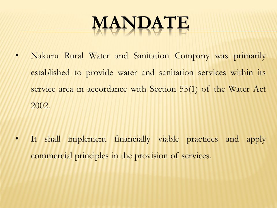 To be the leading water and sanitation services provider in the country