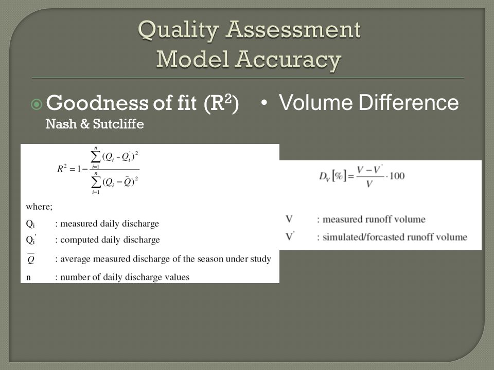Goodness of fit (R 2 ) Nash & Sutcliffe Volume Difference