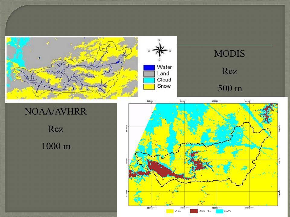 NOAA/AVHRR Rez 1000 m MODIS Rez 500 m
