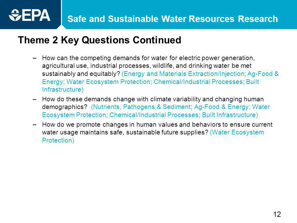 Safe and Sustainable Water Resources Research Theme 2 Key Questions Continued –How can the competing demands for water for electric power generation, agricultural use, industrial processes, wildlife, and drinking water be met sustainably and equitably.