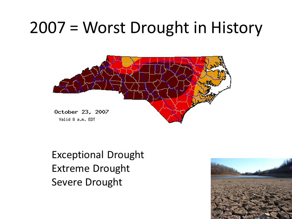 2007 = Worst Drought in History Exceptional Drought Extreme Drought Severe Drought