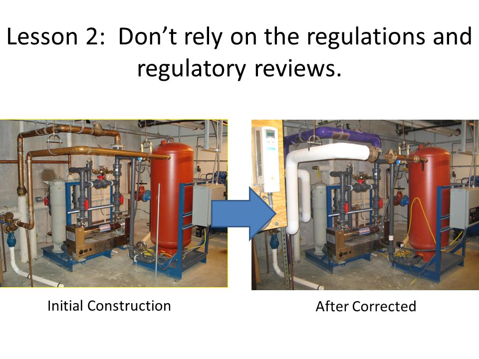 Lesson 2: Dont rely on the regulations and regulatory reviews. Initial Construction After Corrected